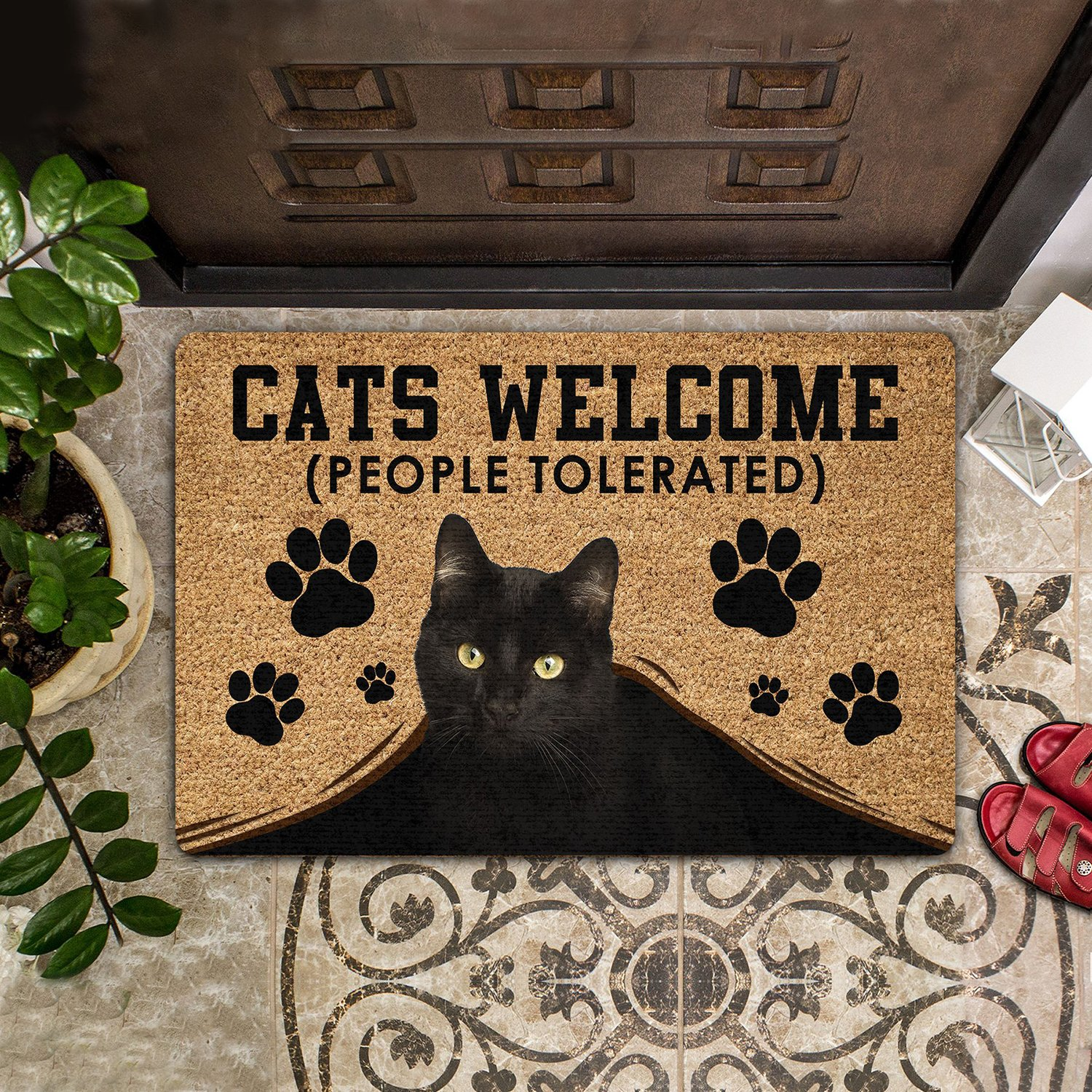 CATS WELCOME (PEOPLE TOLERATED) COIR PATTERN ALL OVER PRINTING DOORMAT