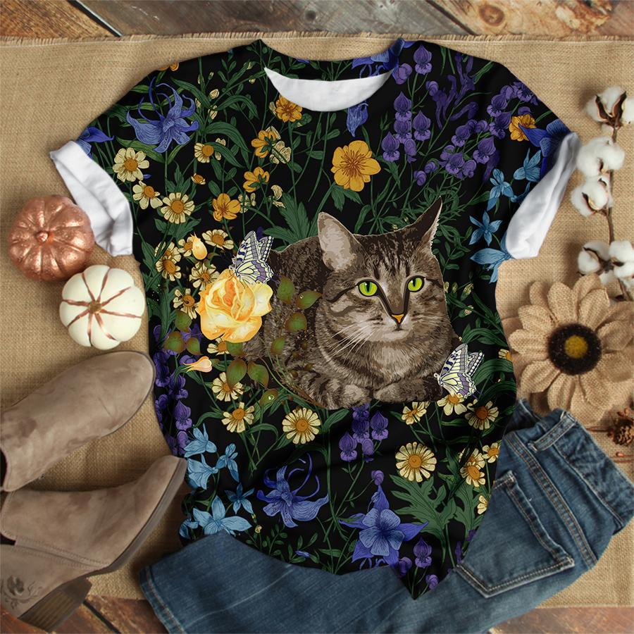 Mysterious Floral Cat Tshirt 9