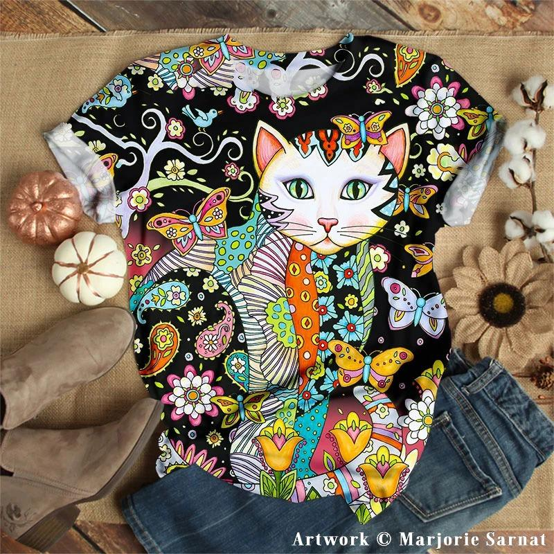Mysterious Floral Cat Tshirt 3