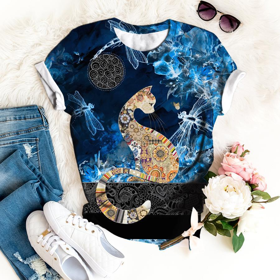 Mysterious Floral Cat Tshirt