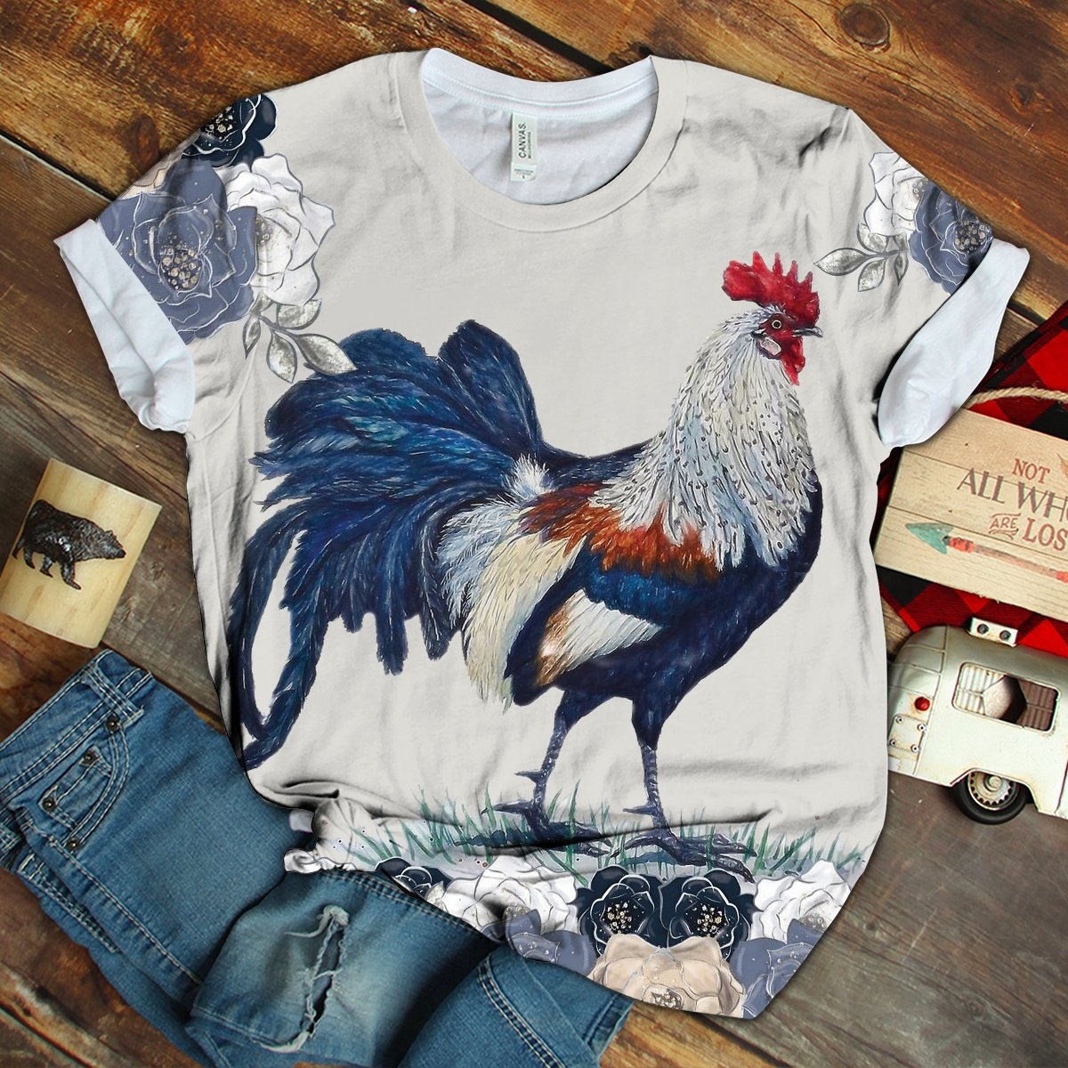 New Design Chicken Floral Art Tshirt