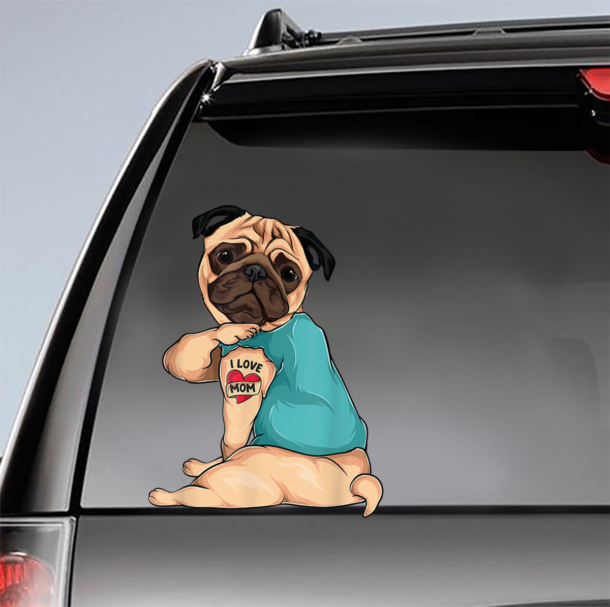 Pug Tattoo I Love Mom Mother's Day Car Sticker