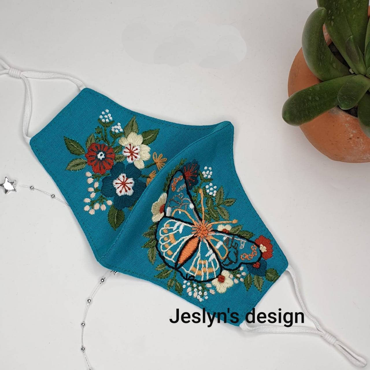 Butterfly  Flower Embroider FM