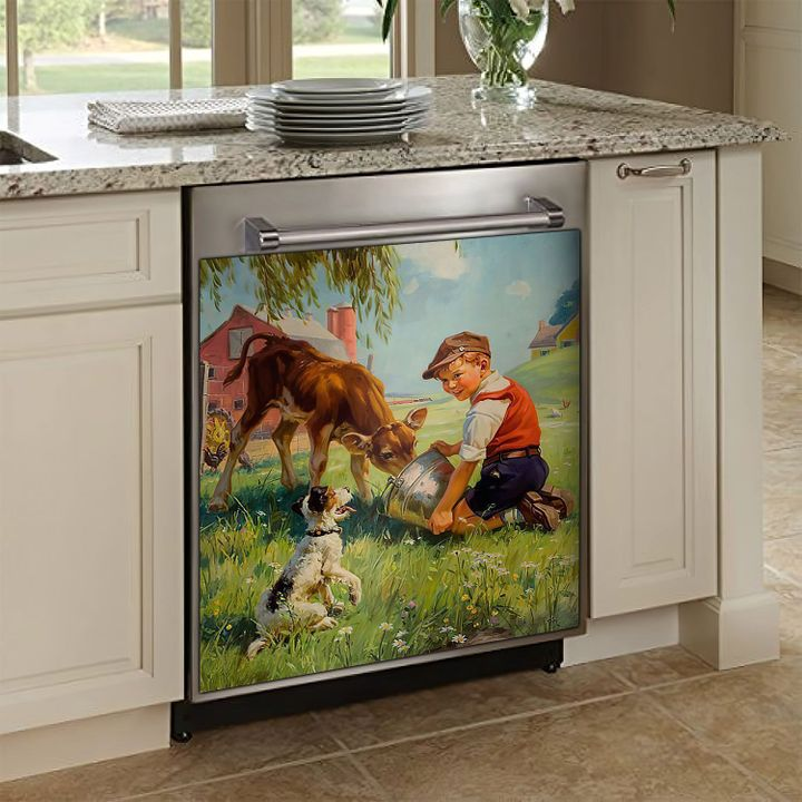 Who Really Loved Cows And Dogs TCCL101116213 Decor Kitchen Dishwasher Cover