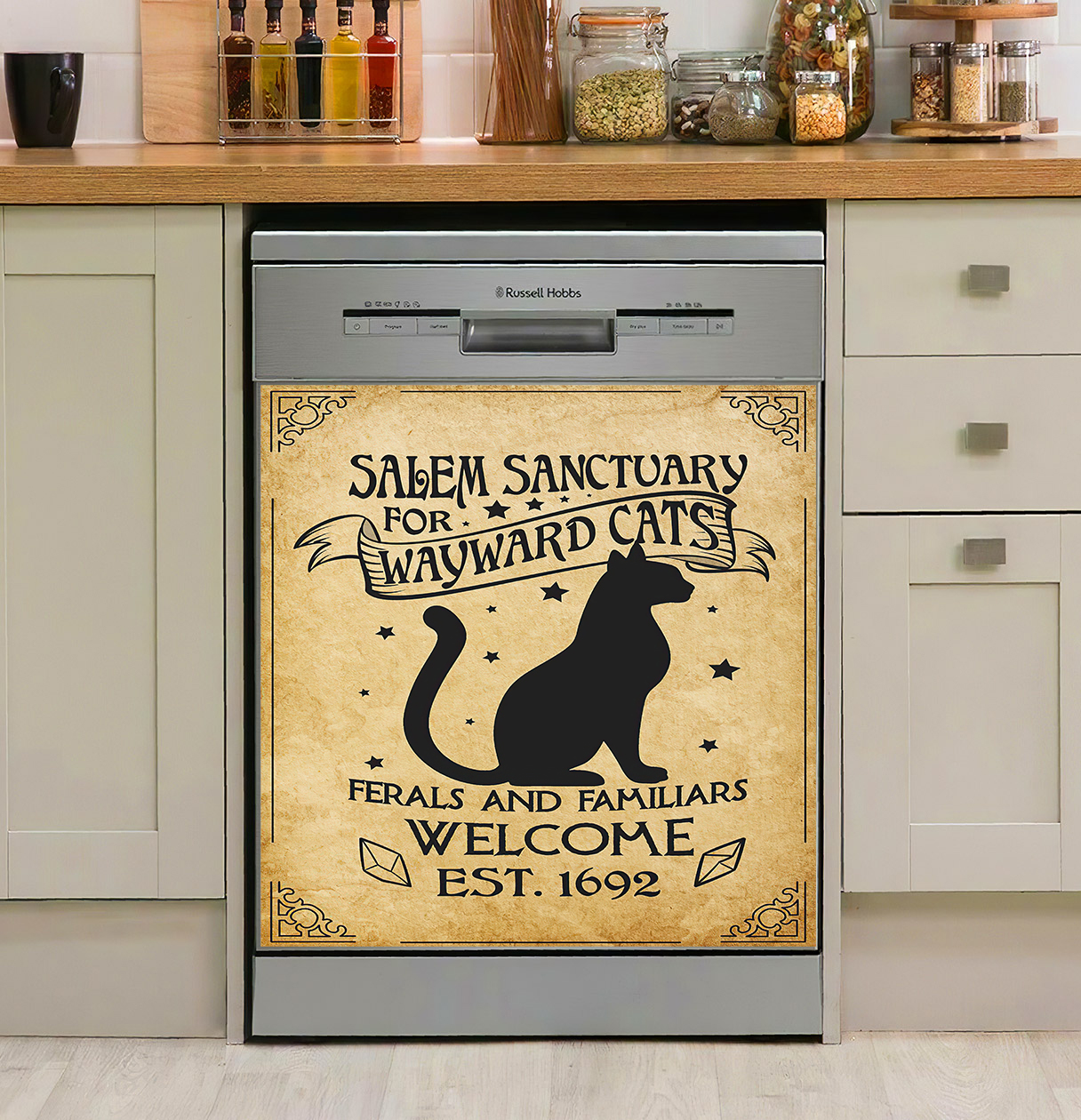 Salem Sanctuary For Wayward Cats Ferals And Familiars Welcome Est. 1692 Black Cat Witch Dishwasher Cover