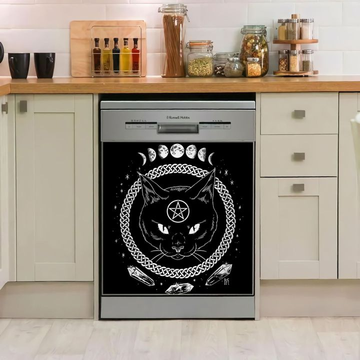 Black Cat Wicca Pagan Witch Dishwasher Cover