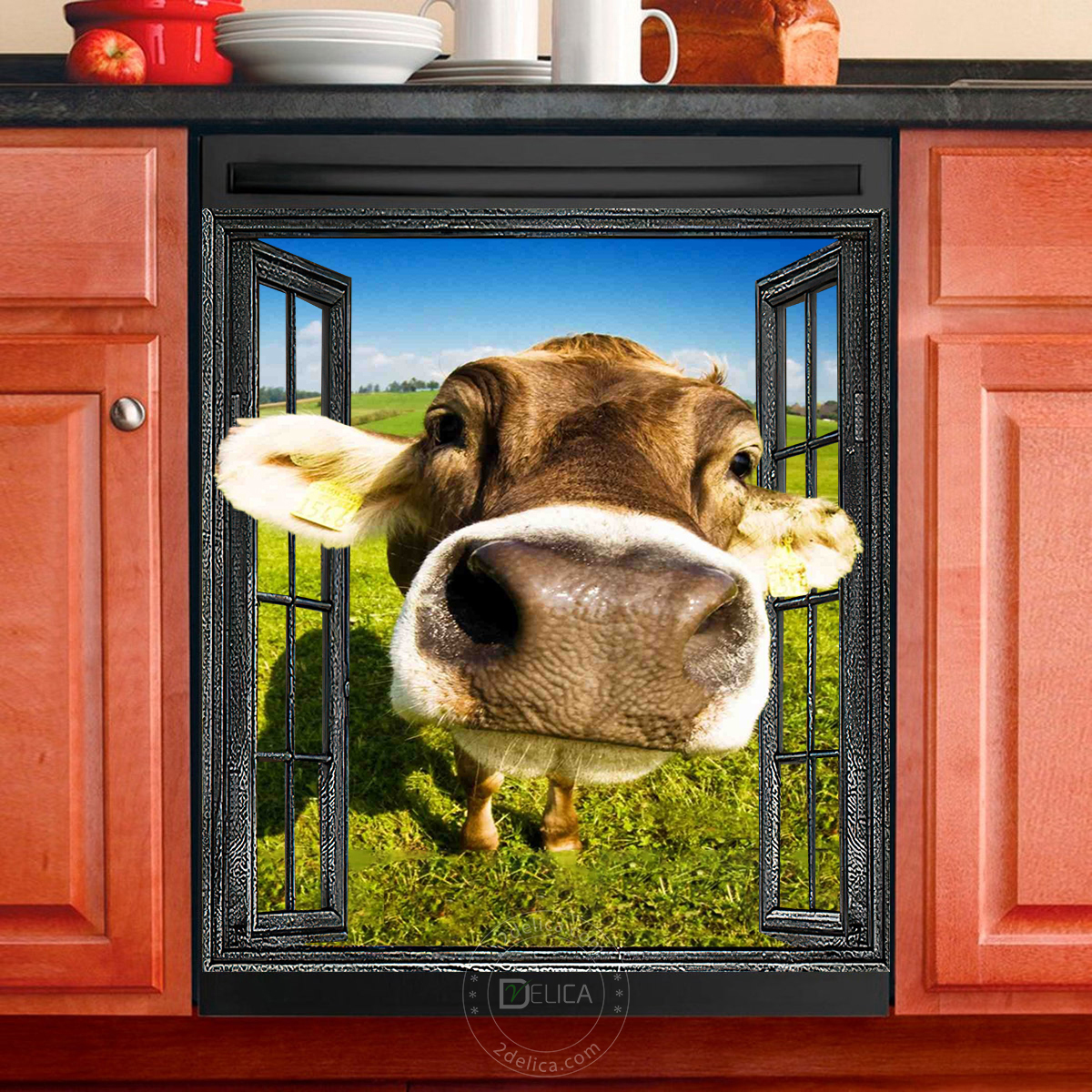 Dishwasher Cover - Funny Cow 08