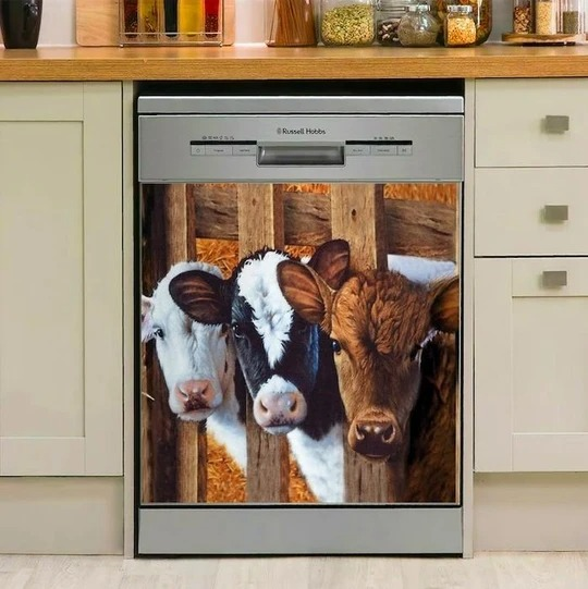 Baby Cow Decor Kitchen Dishwasher Cover