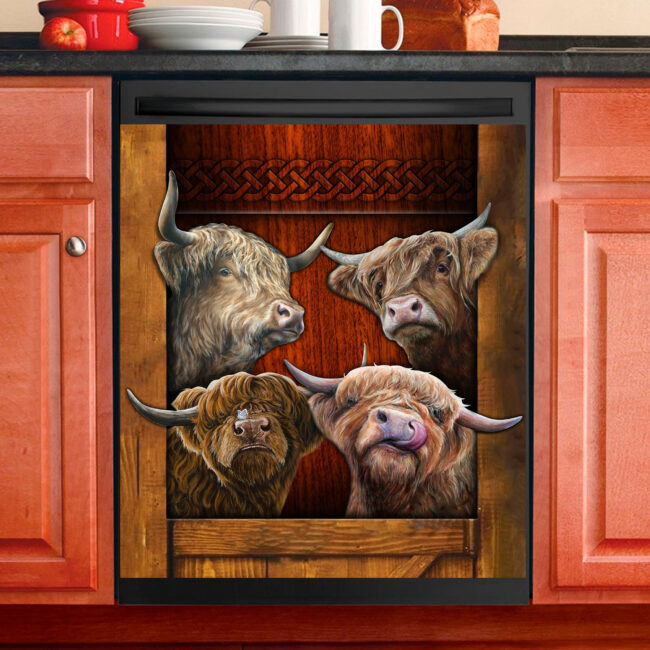 Love Hightland Cattle Dishwasher Cover
