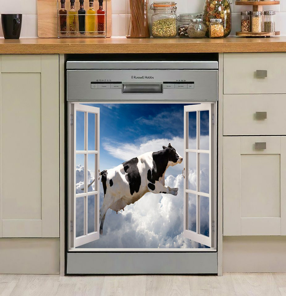Cow Farm Window Decor Kitchen Dishwasher Cover  5