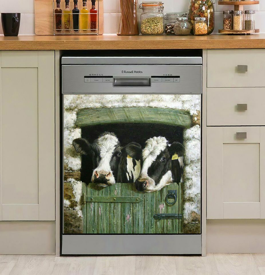 Cow Farm Window Decor Kitchen Dishwasher Cover  6