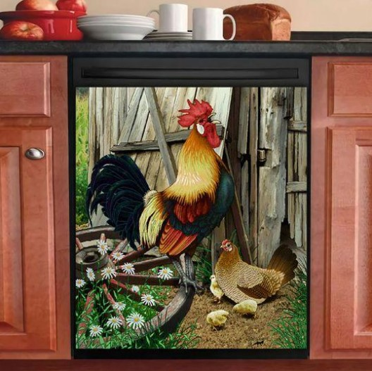 POULTRY FARMING DECOR KITCHEN DISHWASHER COVER 27