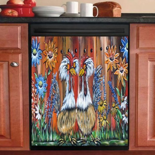 POULTRY FARMING DECOR KITCHEN DISHWASHER COVER 14