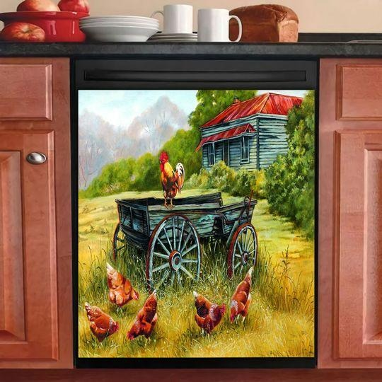 POULTRY FARMING DECOR KITCHEN DISHWASHER COVER 13