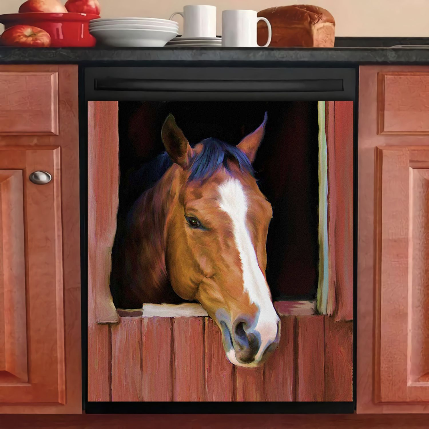 HORSE FARM DECOR KITCHEN DISHWASHER COVER