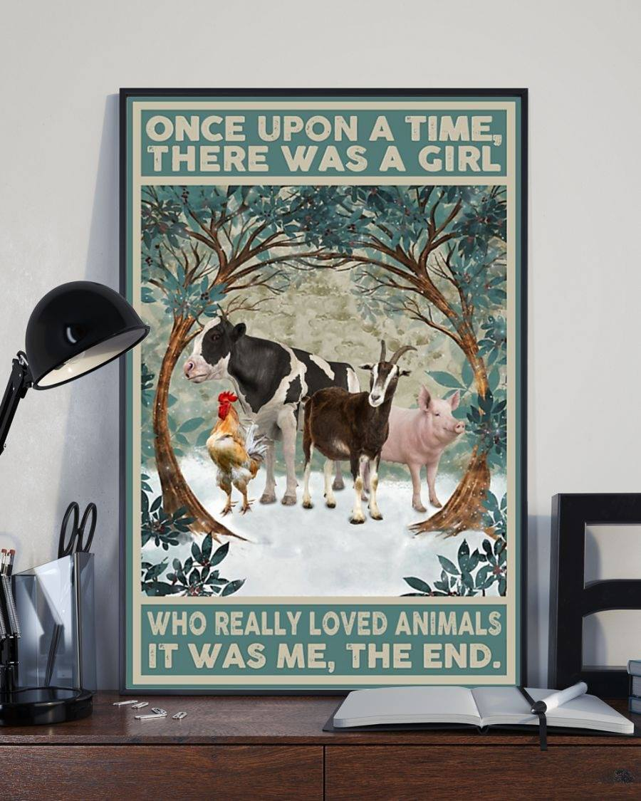 There Was a Girl Who Loved Animals Farm Chicken Cow Pig Poster