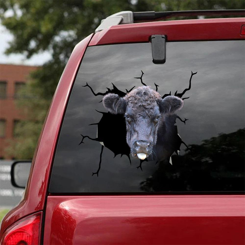 Farm Cow Funny Crack Car Sticker
