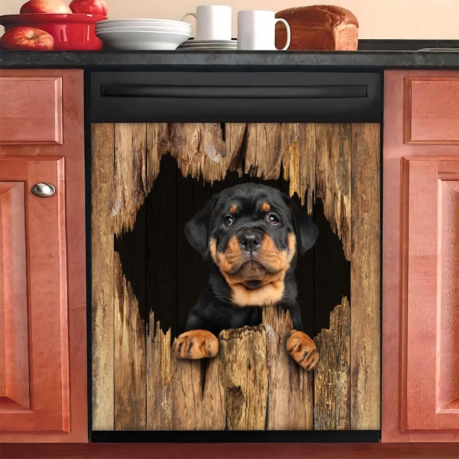 Rottweiler Dog Breaks The Wall Dishwasher Cover