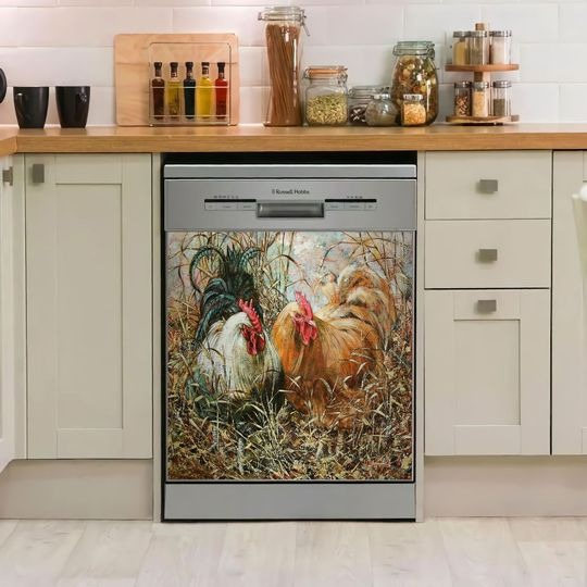ROOSTER DECOR KITCHEN DISHWASHER COVER 2