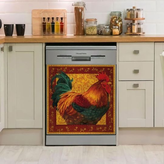 ROOSTER DECOR KITCHEN DISHWASHER COVER 13
