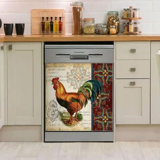 ROOSTER DECOR KITCHEN DISHWASHER COVER 10