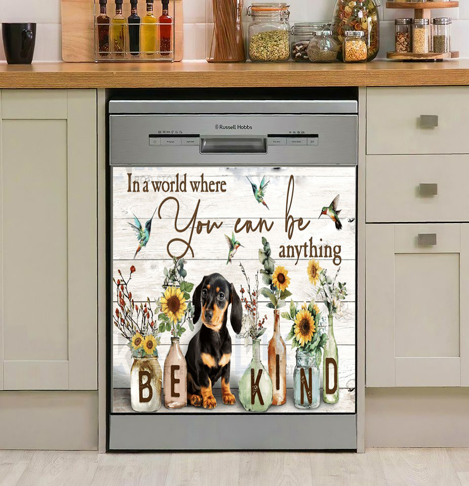 DACHSHUND IN A WORLD WHERE YOU CAN BE ANYTHING DECOR KITCHEN DISHWASHER COVER